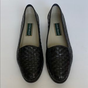 COLE HAAN Black Leather Woven Loafer